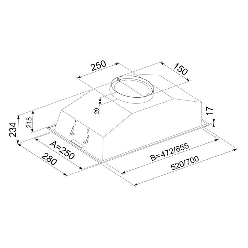 Hota Incorporabila Tornado Modul 1200 (70) LED, 1 motor Turbo, latime 70 cm, absorbtie 1200 m3/ora, filtru anti-grasimi aluminiu 5 straturi, Inox